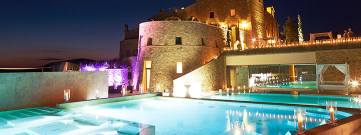 Castle with pool by night